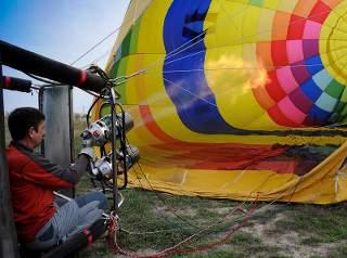 Ballon wird gerüstet